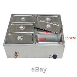 Commercial Food Warmer 6-Pan Steamer Stainless Steel Buffet Electric Countertop