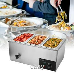 Commercial Food Warmer Bain Marie Steam Table Countertop 3 Pots Soup Station