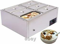 Commercial Food Warmer Steam Table 6-Pot Stainless Steel 110V Sliver Electric