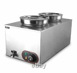 Commercial Soup Warmer Steam Table Food Steamer Buffet Warmers Electric 2 Pots