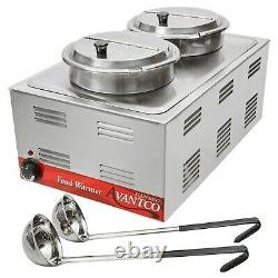 Countertop Food Soup Station Steam Table Warmer Commercial 2 Kettle Full Sz Pan