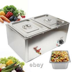 Countertop Food Warmer Steamer with 2 Heavy Gauge Pans for Food Holding & Warming