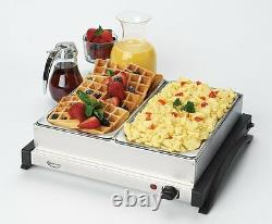 Electric 2 Dish Tray Buffet Server Food Warmer Catering Plate Stainless Steel