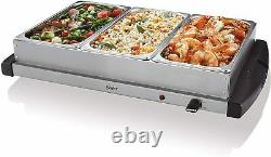 Electric 3 Dish Tray Buffet Server Food Warmer Catering Plate Stainless Steel