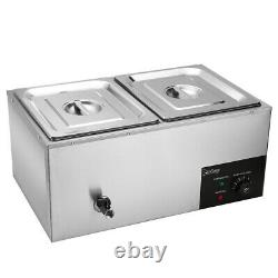 Electric Bain Marie Commercial Food Warmer 2 pans Stainless Steel Display