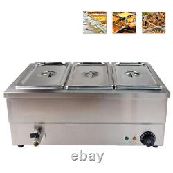 Electric Bain Marie Commercial Food Warmer Container 3x 1/3 GN Stainless Steel
