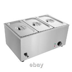 Electric Buffet Server 3 Plate Food Warmer Catering Dish Tray Stainless Steel