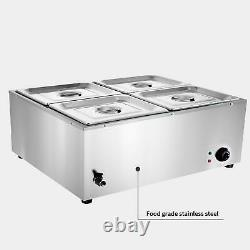 Electric Buffet Server 4 Plate Food Warmer Catering Dish Tray Stainless Steel