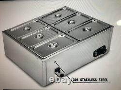 Electric Food Warmer 6 pans Bain Marie Steam Table 1200W 110V Commercial US
