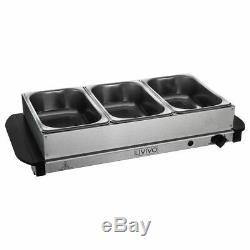 Electric Food Warmer Buffet Server Adjustable 200w Temperature Hot Plate Tray