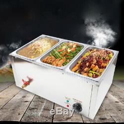 Electric Food Warmer Buffet Server Hot Plate 3 X 7L Tray 850W 110V 3 pots 3 lids