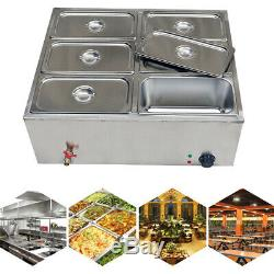 Electric Food Warmer Steam Table Steamer Bain-Marie Buffet Countertop 6-Pan NEW
