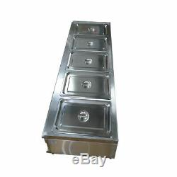 Food Service Table Top 110V Electric Buffet Food Warmer with 5pcs 1/2 Pan New