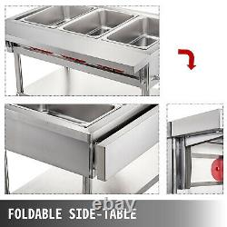 Food Warmer Bain Marie Steam Table Steamer Commercial Electric Wet Heat 3 Pan