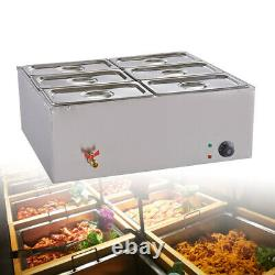 Food Warmer Buffet Electric Server 6 Tray Large Bain Marie Stainless Steel New