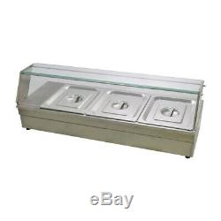 Food Warmer Holder Commercial Catering Kitchen 3 Pan Electric Bain Marie & Lids