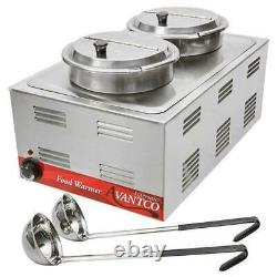 Full Size Countertop Food Soup Station Steam Table Warmer Electric 2 Insets 120V