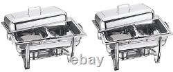 Heavy Duty 2 Pans Chafing Dish Set Stainless Steel 8.5l Party Cater Food Warmer