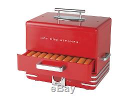 Hot Dog Steamer Machines Electric Food Bun Warmers Cooker Red Retro Vintage Red