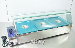 INTBUYING 36'' 3-Pan Food Warmer Bain-Marie Countertop Steam Table 110V 1500W