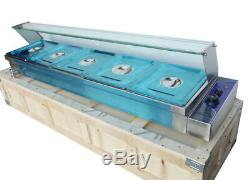 INTBUYING Food Warmer for Commercial 5-Pan with Protection Glass 110V Electric