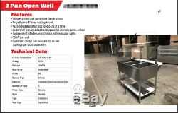 NEW 43 Commercial Dry Heat Food Warmer Open Well Buffet 3 Compartment Table NSF