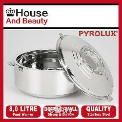 NEW Pyrotherm by Pyrolux Stainless Steel Double Wall Food Warmer/Hot Pot 8.0 Ltr