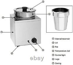 New Hakka Electric 3.5L 2 Pots Commercial Kitchen Stainless Steel Food Warmer