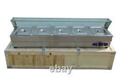 Open box Food Soup Warmer Stove Bain Marie with 5Well Commercial Canteen Heater