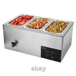 Restaurant 3 Pan Commercial Bain Marie Food Warmer Electric Steam Table 6.9QT