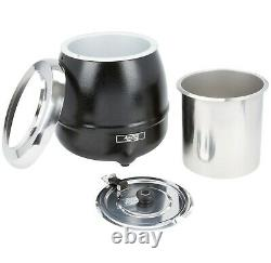 S30 11 Qt. Round Black Countertop Food / Soup Kettle Warmer 120V, 400W