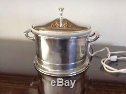 Silver plate Electric Food Warmer Server with Ceramic Insert & Lid. Neiman Marcus