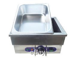 Stainless Steel Portable Steam Table Countertop Food Warmer 1500W 13×8×6in