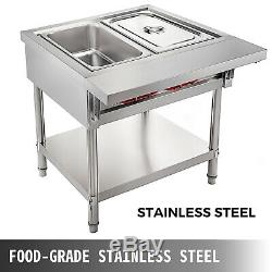 Steam Table Food Warmer Buffet 2 Pans Steamer Bain Marie Restaurant 110V 1000W