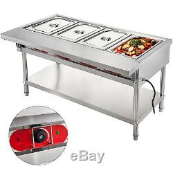 Steam Table Food Warmer Buffet 4 Pans Steamer Bain Marie Restaurant 220V 3000W