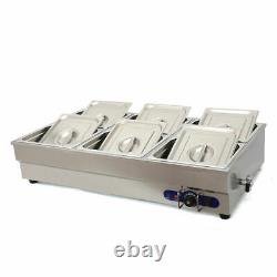 TechTongda 6-Well Commercial Bain-Marie Buffet Food Warmer 110V Simple Operation