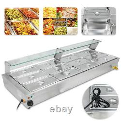 USED 12-Pan Steamer Bain-Marie 110V Food Warmer Steam Table Buffet Countertop