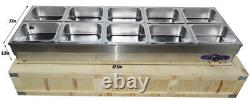US Commercial 10-Pan Bain-Marie Buffet Steam Table Sneeze Guard Food Warmer