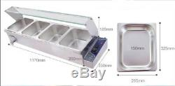 US Free ShippingFood Warmer with More Deeper Pots, 110V Stainless Machine, Newest