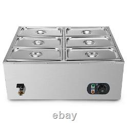 VEVOR 6-Pan Food Warmer Steam Table Steamer Electric Bain-Marie Soup Station