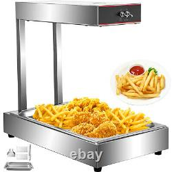 VEVOR Fry Warmer French, Fry Heat Lamp, with Detachable Pan, Food Lamp Warmer, SUS