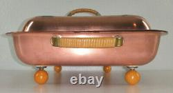 Vintage Electric Copper Chafing Dish Double Food Warmer Bakelite Ball Feet