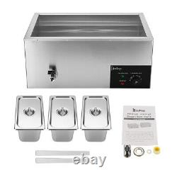 ZOKOP 3 Cells Commercial Food Warmer Bain Marie Steam Table Countertop 110V 600W